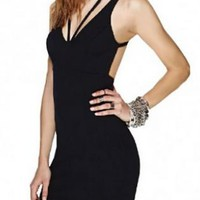 Black Cross V-Neck Sleeveless Dress