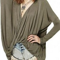 Green V-Neck Long Sleeve Wrap Top