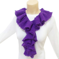 Scarf, Ruffle scarf, Knitted Lariat Scarf, Infinity Eternity Scarf, Lariat Necklace, Purple, Lariat shawl, Knitted scarf, Mothers day scarf