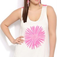 plus rayon span tank with neon pink crochet back and neon pink daisy