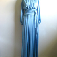 Blue Shimmer Grecian Dress Vintage 1970s Maxi Gown 12