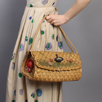 60s Raffia Straw PURSE / CHERRIES & Hats / ROPE Handle