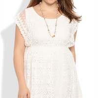 Plus Size Strapless Dress with Daisy Lace and Soft A-Line Skirt