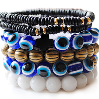 Evil Eye Gypsy Bracelet Stack by theblackfeather on Etsy