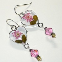 Flower Heart Bezel & Swarovski 5301 RoseCrystal .925 Sterling Earrings | KatsAllThat - Jewelry on ArtFire