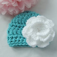 New Crochet Newborn Turquoise and White Flower Beanie Hat Photo Prop Bring Home