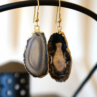 Eclipse Black Agate Slice Earrings, Druzy Earrings, Agate Slice, Stone Jewelry, Geode Druzy Earrings