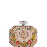 Marchesa Iris Floral Embroidered Box Clutch Bag, Multi