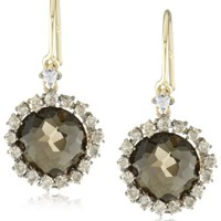 Kalan by Suzanne Kalan Round Smokey Quartz Wire Drop Earrings