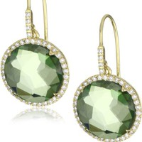 "Suzanne Kalan ""The Classics"" Round Green Envy Topaz and Diamond Bezel Earrings"