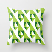 Geometric Pattern 2-Green Throw Pillow by mollykd