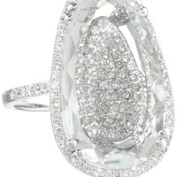 "Suzanne Kalan ""Vitrine"" Pear White Topaz and Diamond Bezel Ring"