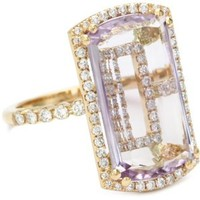 "Suzanne Kalan ""Vitrine"" Rose De France and Diamond Bezel Ring"