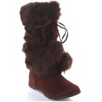 Brown Mukluks Super Furry Pom-pom Snow Winter Flat Boot