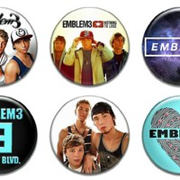 Set of 6 New Emblem3 1.25 Pinback Button Badge Poster Cd Music Hoodie Shirt Band Tour Pin