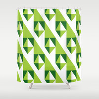 Geometric Pattern 2-Green Shower Curtain by mollykd