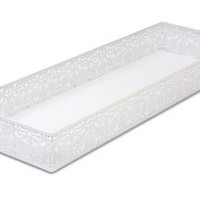 Lace Toilet Tank Tray, White