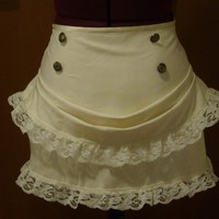 Ivory steampunk mini bustle skirt by blackmirrordesign on Etsy