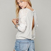 Intimately Womens Benedict Lace Crop Sweatshirt - Grey Heather,
