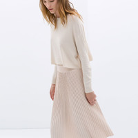 KNEE-LENGTH FINE PLEAT SKIRT