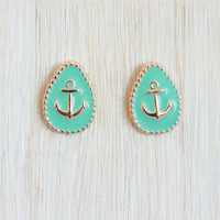 Pastel Blue Anchor Stud Earrings