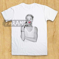 miley cyrus smoke red lip for t shirt paramex