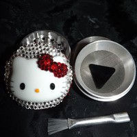 Hello Kitty Large 3-D Head Red Bow 4 Piece Grinder Crystals Herb Aluminum from Cognitive Fashioned