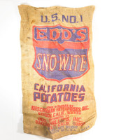 Vintage Potato Sack // Edd's Sno - Wite California Potatos Burlap Sack
