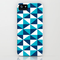 Geometric Pattern 4-Blue  iPhone & iPod Case by mollykd