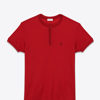 Saint Laurent CLASSIC SHORT SLEEVE BAND COLLAR POLO SHIRT IN Red And BLACK PIQUÉ COTTON | ysl.com