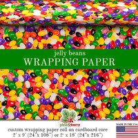 Jelly Beans Candy Colorful Gift Wrapping Paper | Custom Photo Jelly Beans Gift Wrap In Two Sizes Great For Any Occasion. Made In The USA