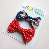 USA Hair Bows / America Hairbows / Hearts Bow Clips Set / American Pride