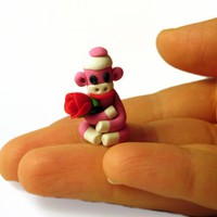 Pink Tiny Sock Monkey With Red Valentine Rose In Polymer Clay | Luulla