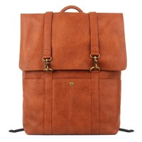 Vintage Style Leather Look Laptop School Backpack