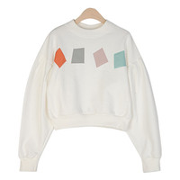 Diamond Patch Shirred Sweatshirt by Stylenanda