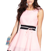 ROMWE Color Block Self-tied Sleeveless Crepe Pink Dress
