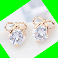 Bow Lover Rhinestone Fashion Earrings