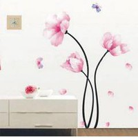 Flower Butterfly Mural Wall Paper Sticker Decal Home Decor free shipping