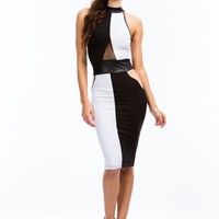 Contrast Colorblock Cut-Out Dress