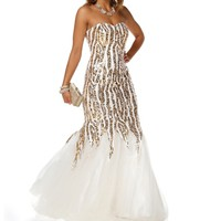 Pre-Order Charlize- WhiteGold Long Prom Dress