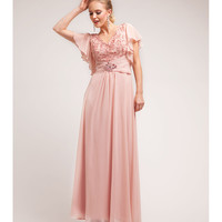 Dusty Rose Chiffon & Lace Modest Gown