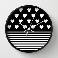 Heart Stripes White on Black Wall Clock by Project M