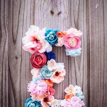 "Custom 13 1/2"" Floral Letter // Nursery decor, Birthday party decor, photo prop"