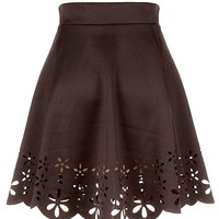 Stenciled Art Skirt | Black Laser Cut Perforated A-Line Skirts | Rickety Rack