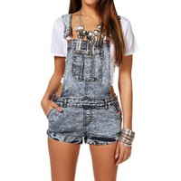 Dark Acid Wash Short Overalls