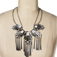 Silver Aztec Statement Necklace