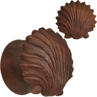 "3/4"" Organic Sabo Wood Ariel's Shell Hand Carved Plug Set 