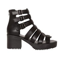 Black Gladiator Buckled Platform Sandals