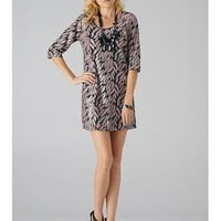 Sequin Leaf Print Dress