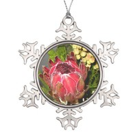 Protea Bouquet Pewter Snowflake Ornament